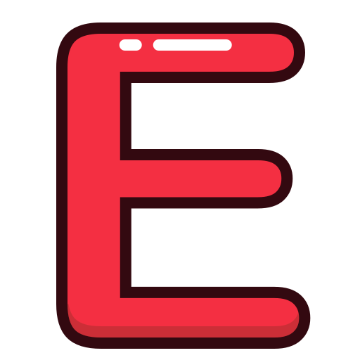 alphabet, e, letter, letters, red icon