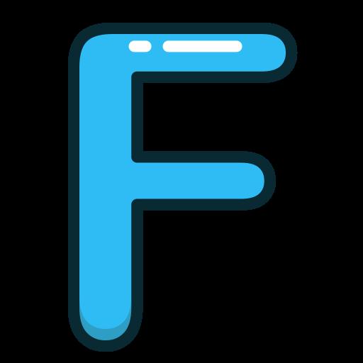 alphabet, blue, f, letter, letters icon