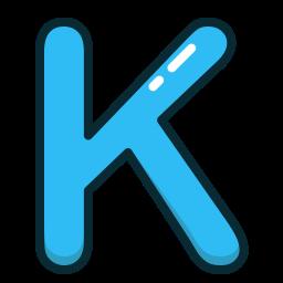alpabet, blue, k, letter, letters icon