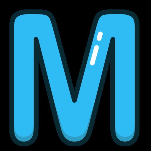 alphabet, blue, letter, letters, m icon