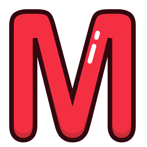 alphabet, letter, letters, m, red icon