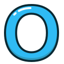 blue, letter, o, alphabet, letters icon
