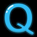 alphabet, blue, letter, letters, q icon