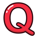 alphabet, letter, letters, q, red icon
