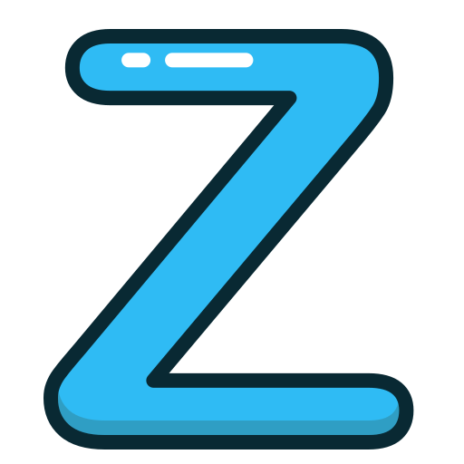 alphabet, blue, letter, letters, z icon