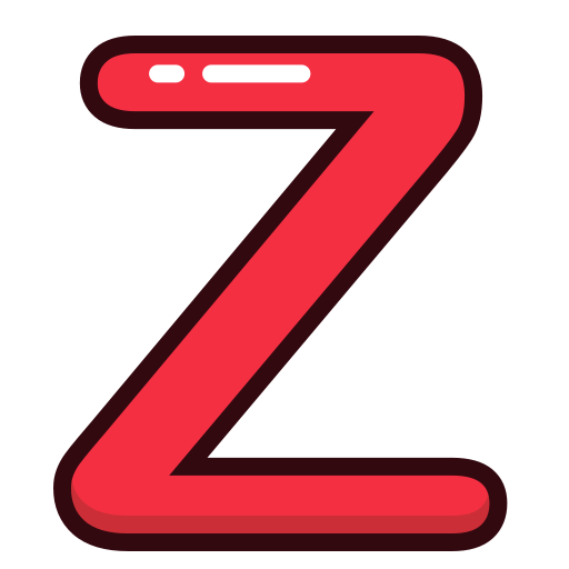 alphabet, letter, letters, red, z icon