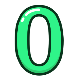green, number, numbers, study, zero icon