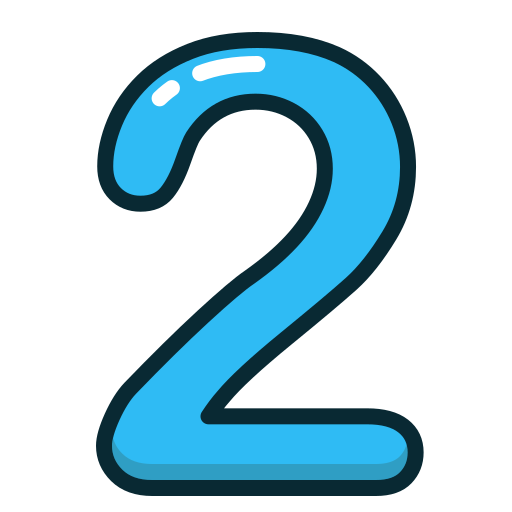 blue, number, numbers, study, two icon