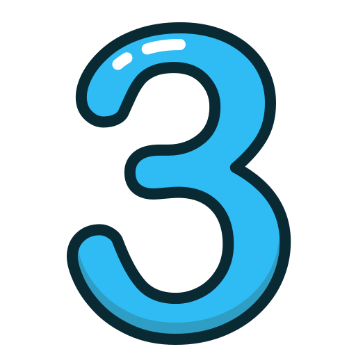 Blue  Number  Numbers  Study  Three Icon