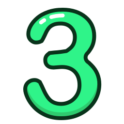 green, number, numbers, study, three icon