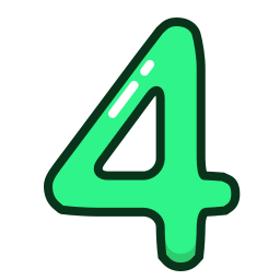 four, green, number, numbers, study icon