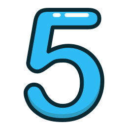 blue, five, number, numbers, study icon