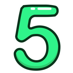 five, green, number, numbers, study icon