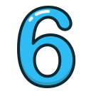 blue, number, numbers, six, study icon