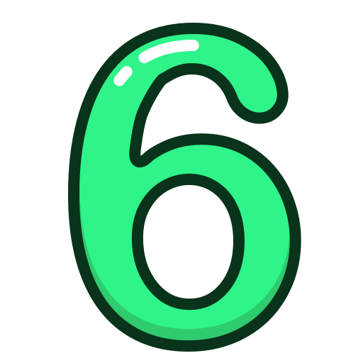 green, number, numbers, six, study icon