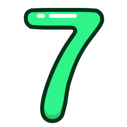 green, number, numbers, seven, study icon