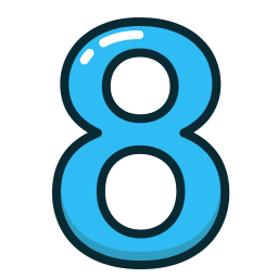 blue, eight, number, numbers, study icon