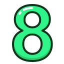 eight, green, number, numbers, study icon