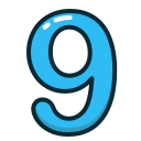 blue, nine, number, numbers, study icon