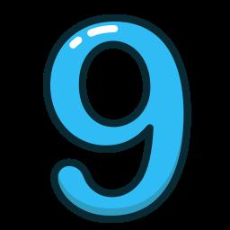 blue, nine, number, numbers, study icon