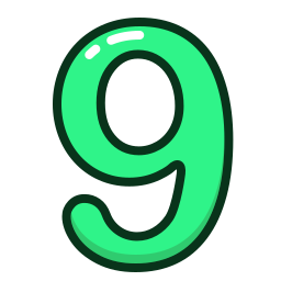 green, nine, number, numbers, study icon