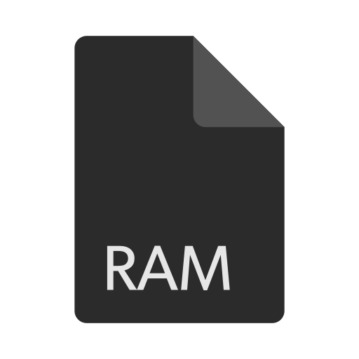 extension, file, format, ram icon