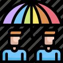 homosexual, insurance, lgbt, man, pride, protection, umbrella icon