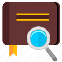 album, book, find, magnifier icon
