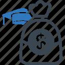 money, piggy bank icon, education, college savings
