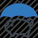piggy bank, money, umbrella icon, savings protection