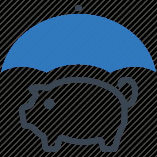 money, piggy bank, savings protection, umbrella icon icon
