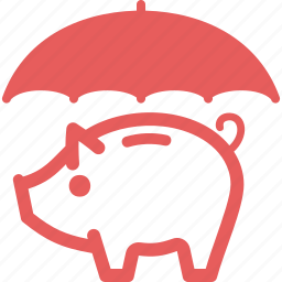 piggy bank, savings protection, umbrella icon