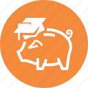 college savings, education, piggy bank icon
