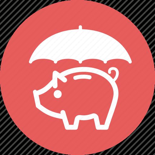 piggy bank, savings protection, umbrella icon