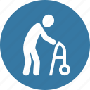 long term care, old man, walker icon