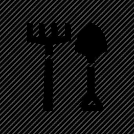 chthonic, farm, farming tool, large, legendary, pitchfork, shovel icon