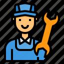 avatar, man, mechanic, repairing, wrench icon
