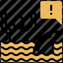 beware, dangerous, emergency, shark, warning icon