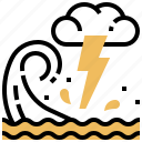 dangerous, emergency, tidal, warning, wave icon