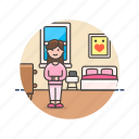 bedroom, lifestyle, bed, pajama, rest, sleep, woman icon