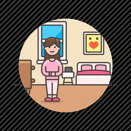 bed, bedroom, lifestyle, pajama, rest, sleep, woman icon