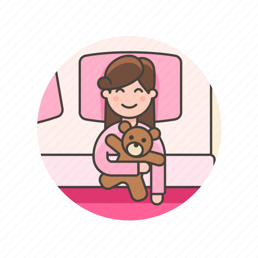 bedroom, bedtime, girl, lifestyle, pajamas, sleep, teddy, woman icon