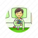 bedroom, bedtime, boy, lifestyle, pajamas, robot, sleep, toy icon
