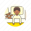 bear, bed, bedtime, boy, lifestyle, man, sleep, teddy icon