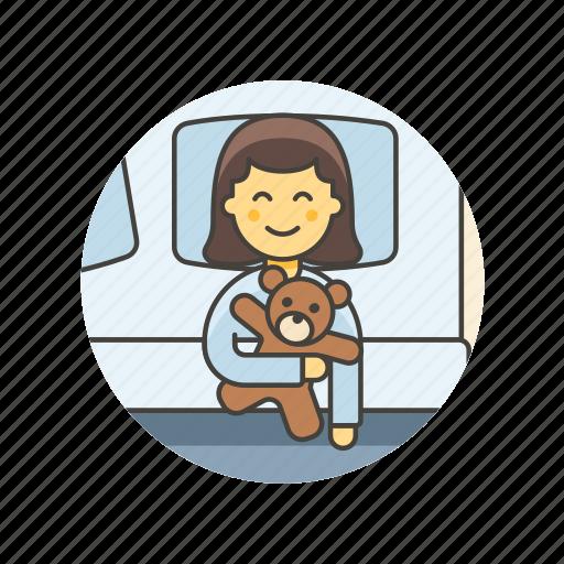 bear, bedtime, girl, lifestyle, rest, sleep, teddy, woman icon