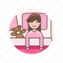 bear, bedtime, girl, lifestyle, pajamas, sleep, teddy, woman icon