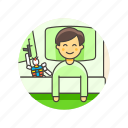 bed, bedtime, boy, lifestyle, pajamas, robot, sleep icon