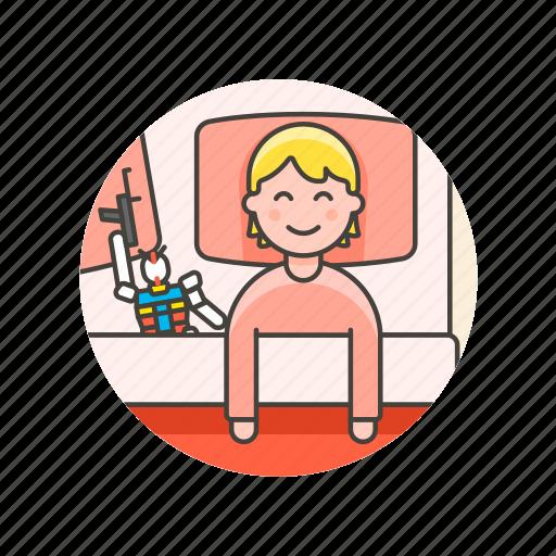bed, bedtime, girl, lifestyle, pajamas, robot, sleep, woman icon