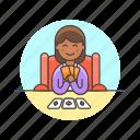 card, fun, game, lifestyle, play, social, woman icon