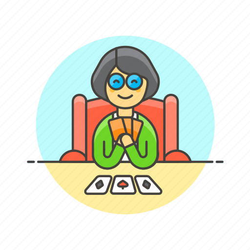 card, elder, game, lifestyle, play, social, woman icon